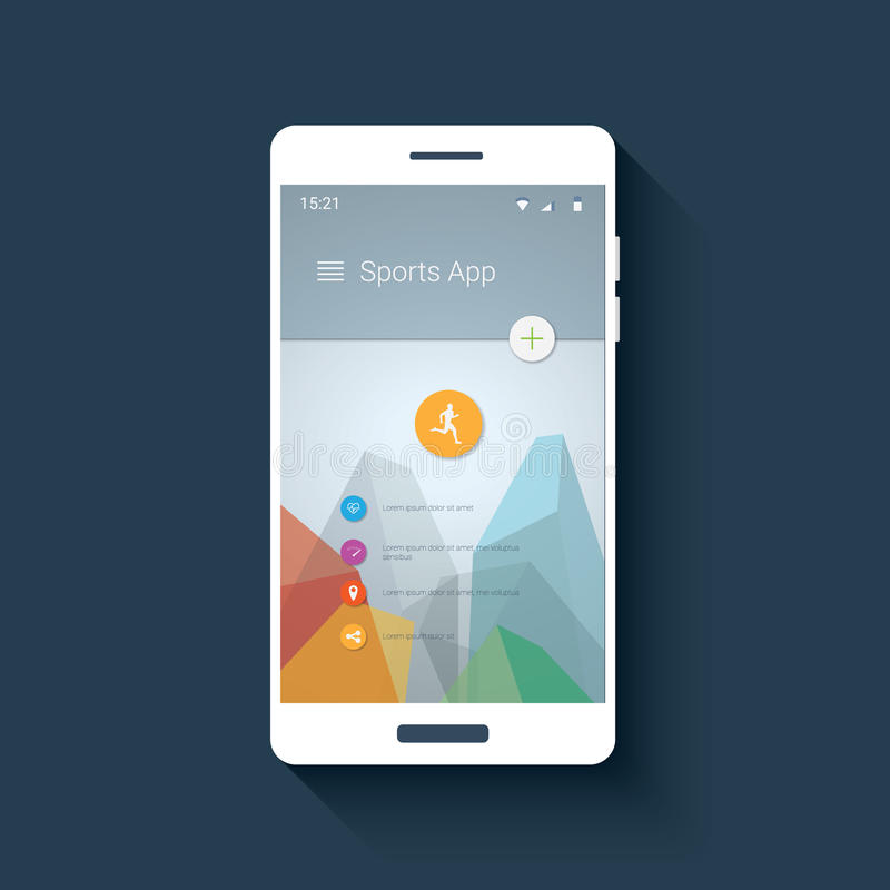 Fitness tracker smartphone app mobile ui. Graphic user interface for smart phones with sports icon collection. royalty free illustration