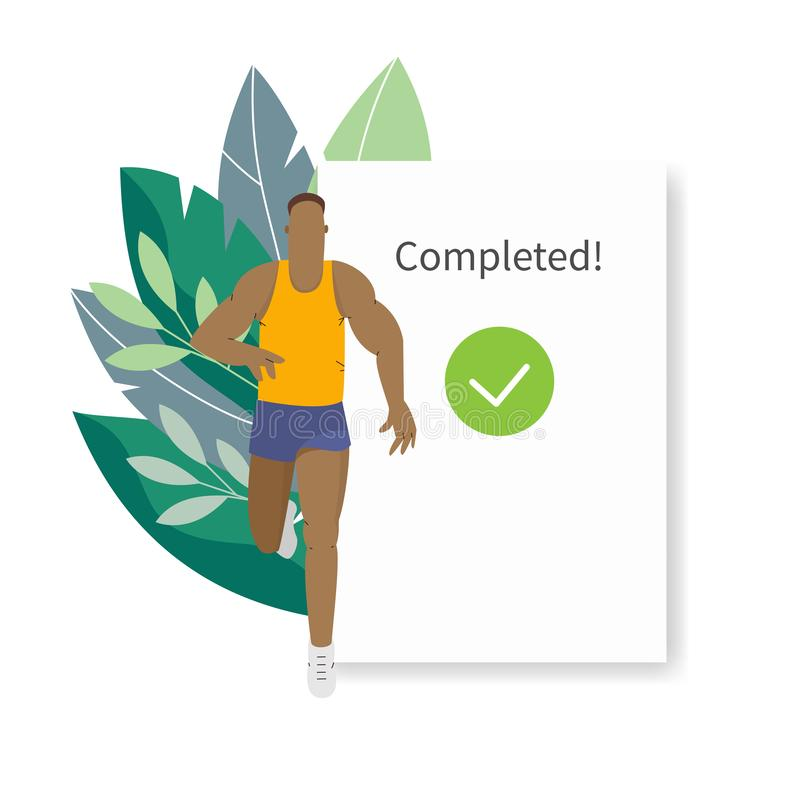 Fitness tracker, sports app user interface. Running man vector illustration vector illustration