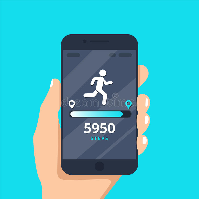 Fitness tracking app on mobile phone screen illustration flat cartoon style, smartphone with run tracker. Running or walk steps counter sport tech on cellphone vector illustration