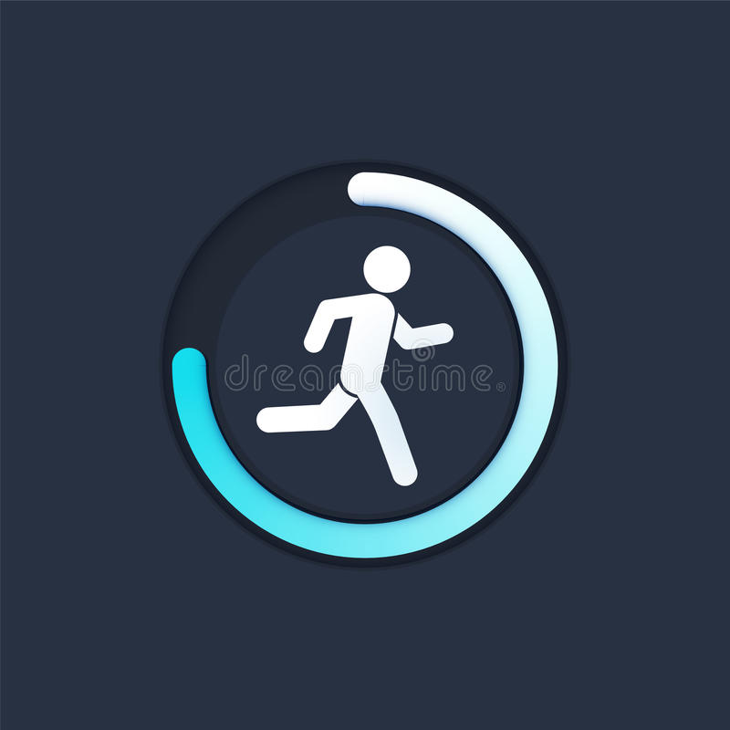 Fitness tracking app on mobile phone screen vector illustration flat cartoon style, smartphone with run tracker, running. Or walk steps counter sport tech on vector illustration