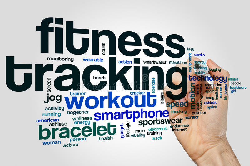 Fitness tracking word cloud concept on grey background royalty free stock photography