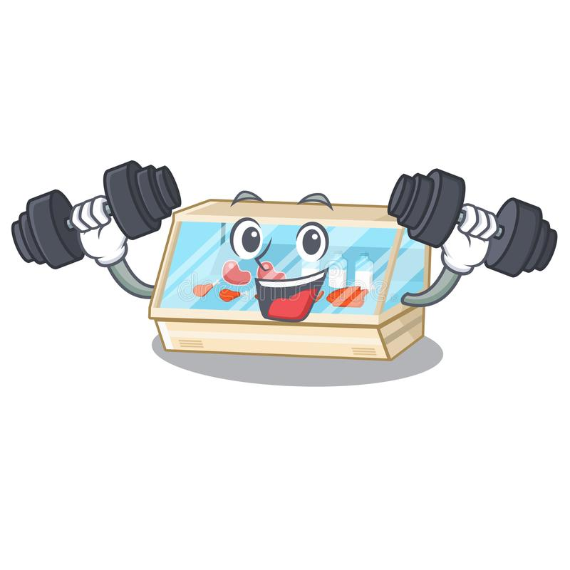 Fitness trade counter in the mascot shape. Vector illustration royalty free illustration