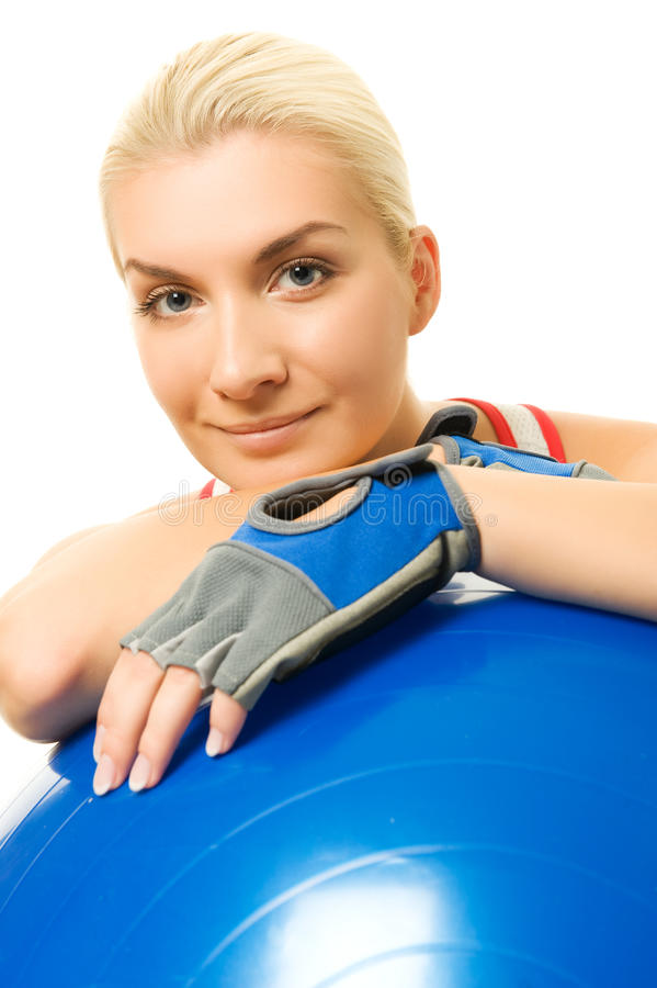 Download Fitness Trainer With A Ball Stock Image - Image of exertion, happy: 11523523