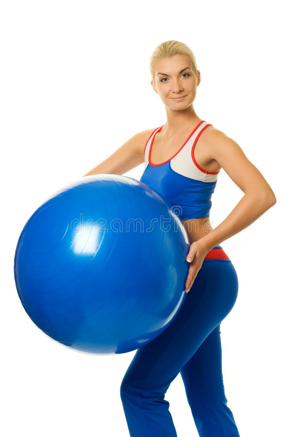 Fitness Trainer With A Ball Stock Image