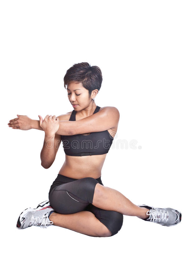 Fitness Trainer Doing Stretching Royalty Free Stock Photography
