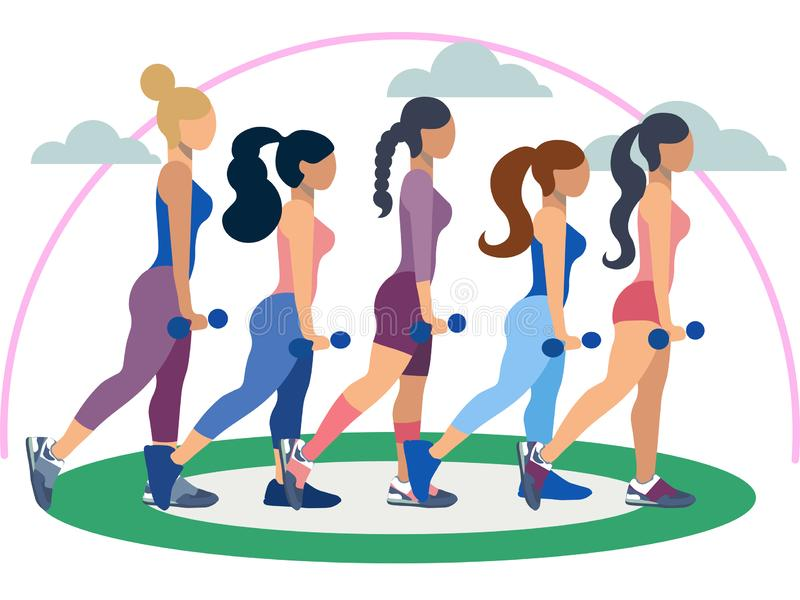 Fitness trainer, five women. Exercise or properly posture flat. In minimalist style. Cartoon Vector royalty free illustration