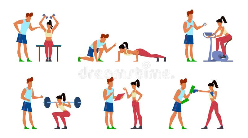 Fitness trainer. Gymnastics exercising in gym with instructor, active sport woman, athletic training men jogging. Cartoon vector athlete young man and coaching stock illustration