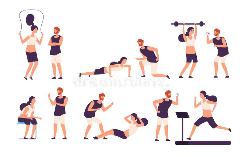 Fitness trainer. Male personal coach helps woman training, fit girl exercising with gym instructor isolated vector set stock illustration