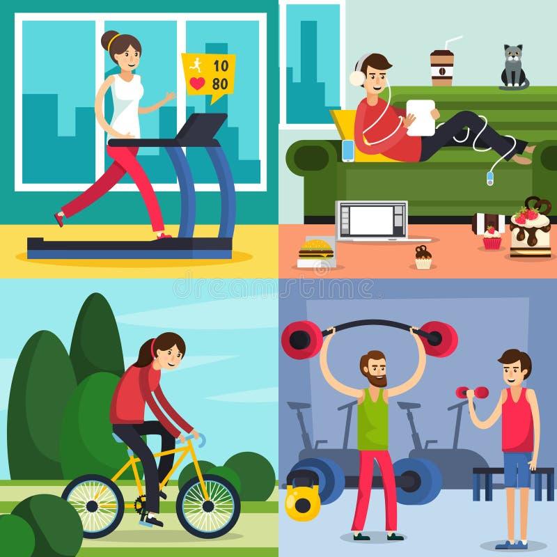 Fitness Training People Icon Set stock illustration