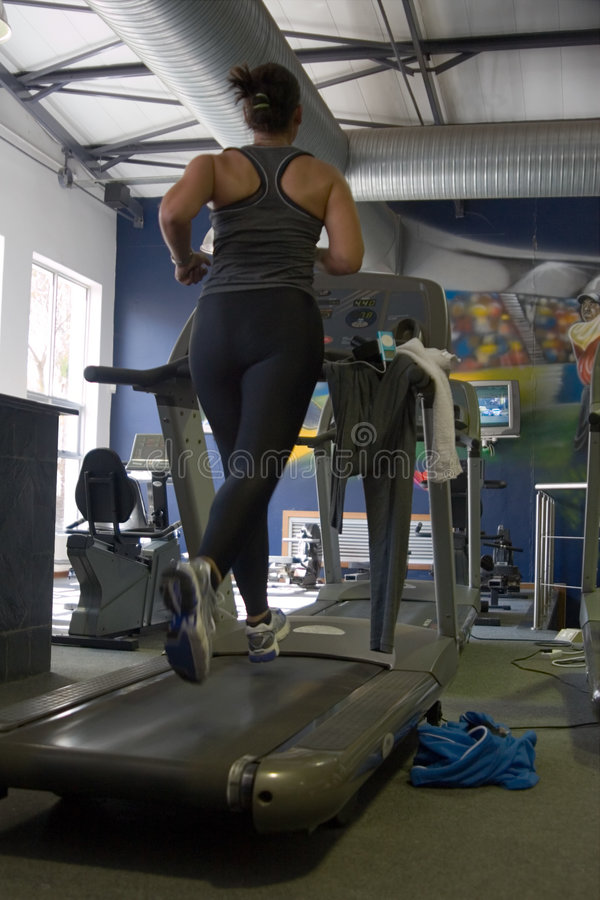Fitness treadmill, gym stock photo