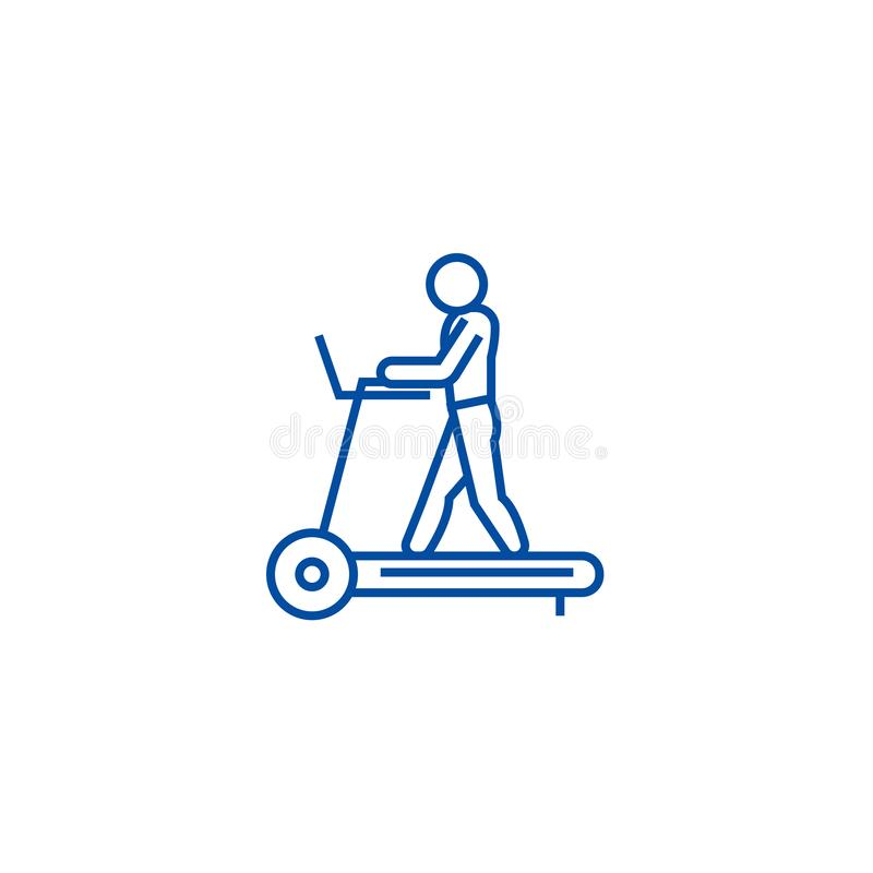 Fitness treadmill line icon concept. Fitness treadmill flat  vector symbol, sign, outline illustration. Fitness treadmill line concept icon. Fitness treadmill royalty free illustration