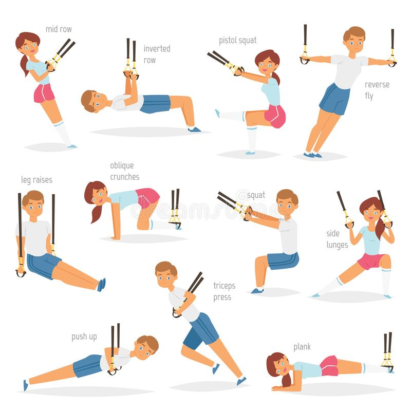 Fitness trx exercises vector sportsman character woman or man exercising in gym for workout or sport training. Illustration set of sportive people with straps vector illustration