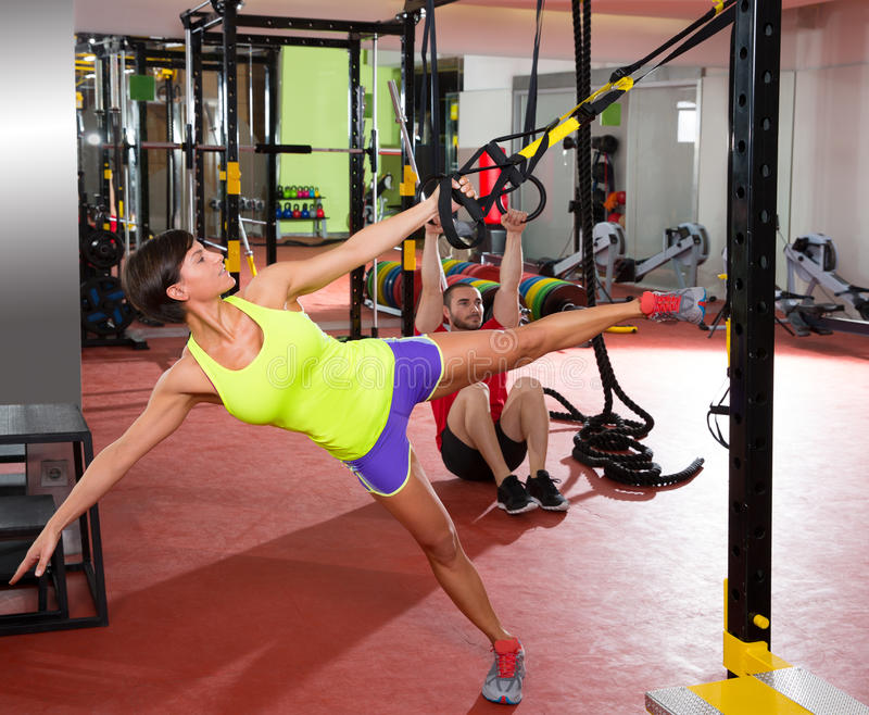 Download Fitness TRX Training Exercises At Gym Woman And Man Stock Image - Image: 31058503