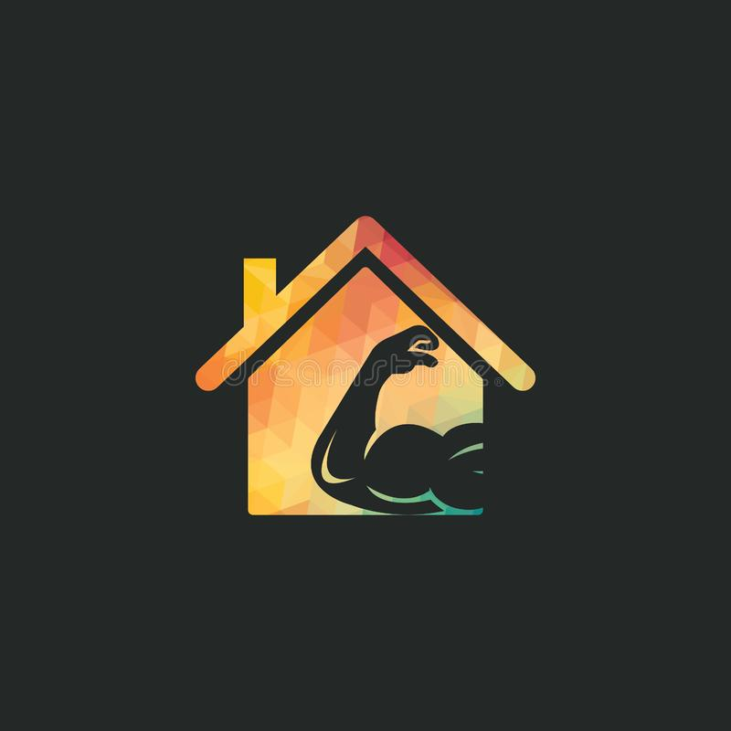 Muscular arm and house  logo design. Fitness  logo design template. Logo template with the image of a muscular arm vector illustration