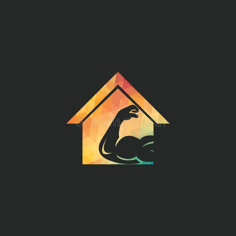 Muscular arm and house  logo design. Fitness  logo design template. Logo template with the image of a muscular arm stock illustration