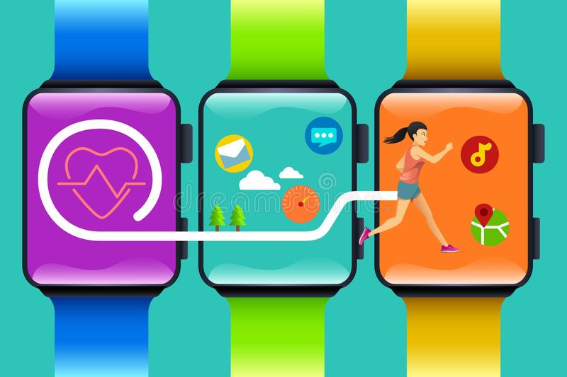Fitness Watch Technology Concept vector illustration