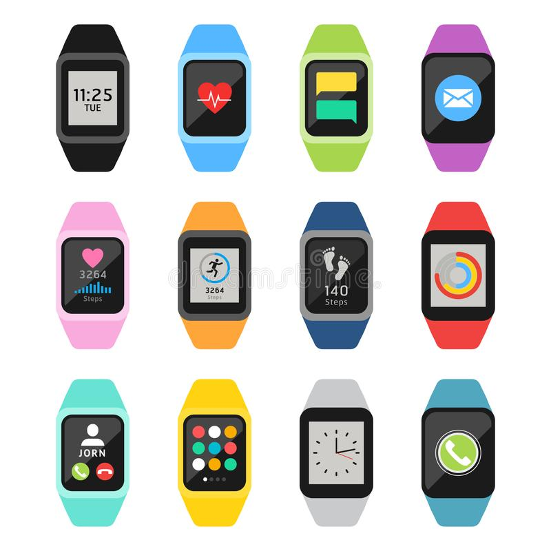 Fitness watches and trackers set. Vector illustrations. Fitness watches and trackers set. Vector royalty free illustration