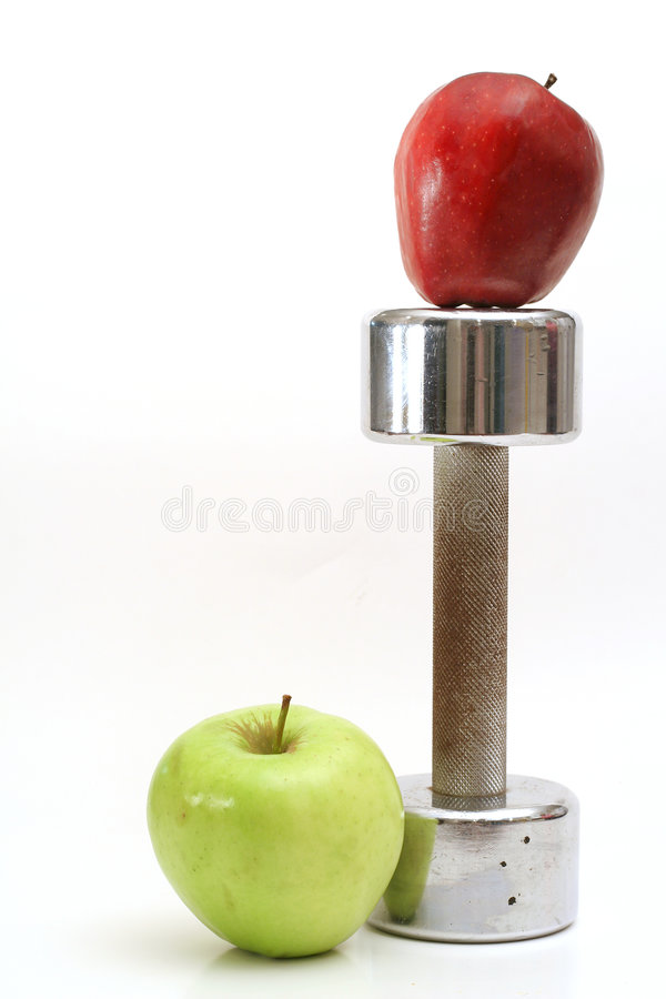 Download Fitness Weight With 2 Apples Stock Photo - Image: 3477190