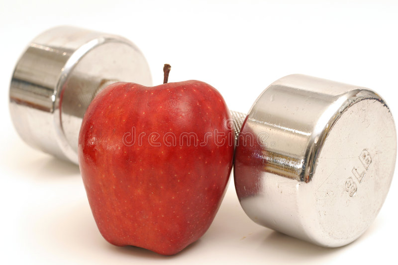 fitness weight & apple royalty free stock image
