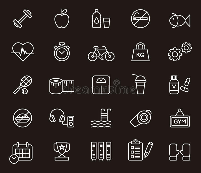 Fitness and wellness icons vector illustration