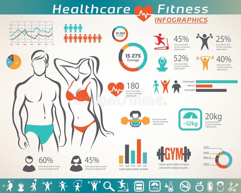 Fitness and wellness infographcs, active people icons. Set