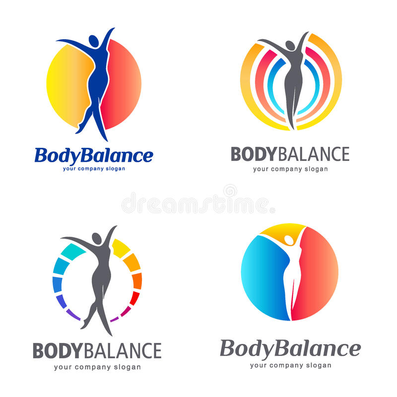Fitness and wellness vector logo design. Body balance logo set. Vector template stock illustration