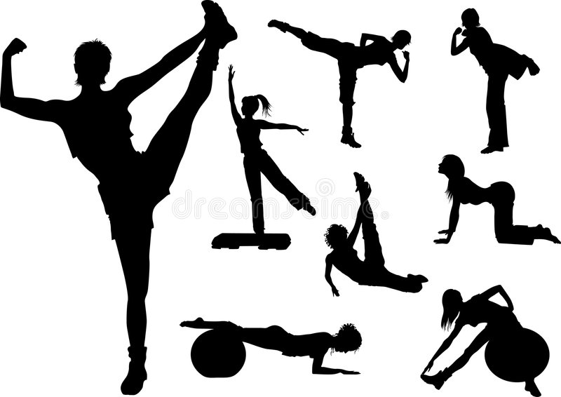 Download Fitness woman stock vector. Illustration of aerobics, stretch - 7073737