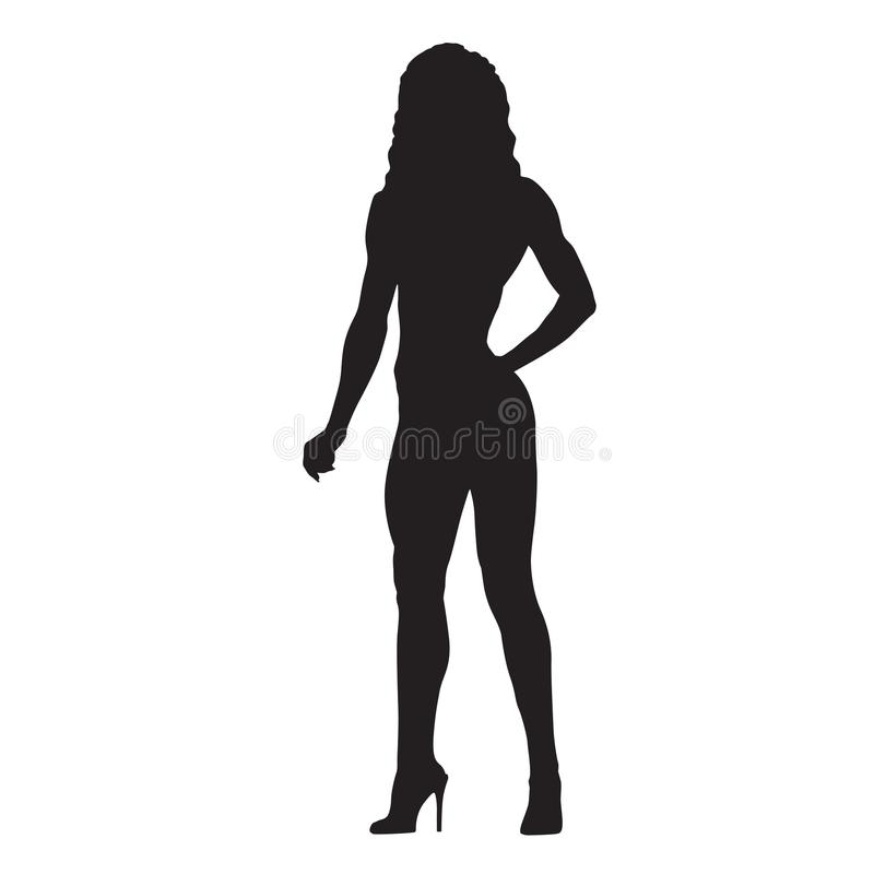 Fitness woman with athletic figure standing in high heels shoes, isolated vector silhouette vector illustration
