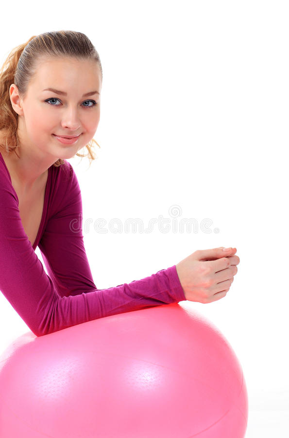 Fitness Woman  With Ball Smiling Joyful And Happy, Isolated On W Royalty Free Stock Image
