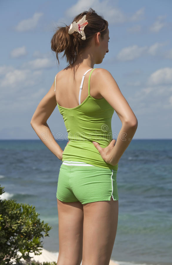Fitness Woman On The Beach Stock Images