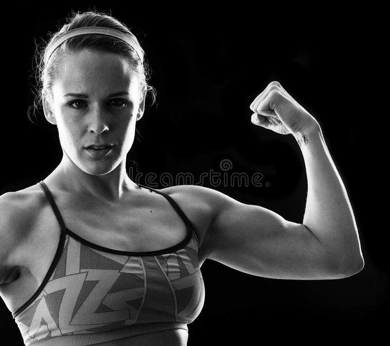 Fitness woman on black royalty free stock images