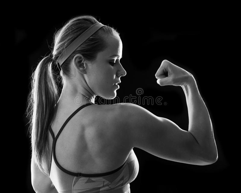 Fitness woman on black stock photo