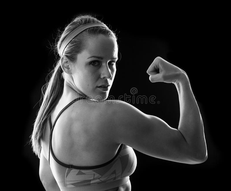 Fitness woman on black royalty free stock photos