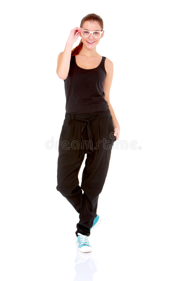 Fitness woman in black sports clothes. Isolated on white royalty free stock photos