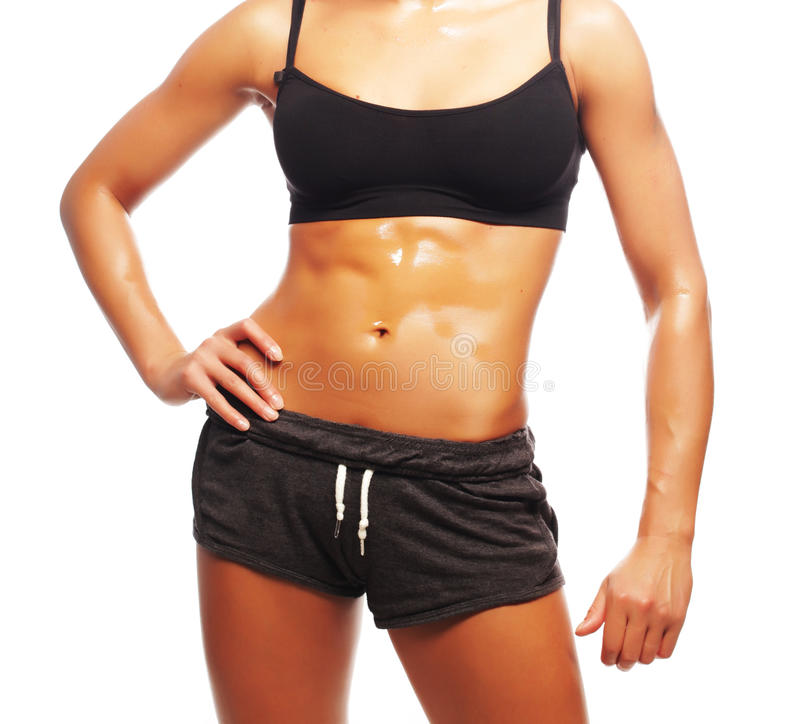 Fitness woman in black sports clothes. Isolated on white stock photos