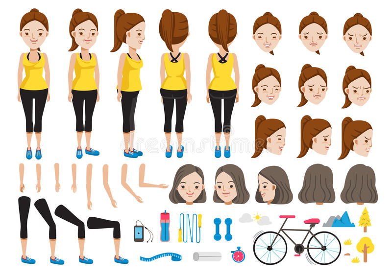 Fitness. Woman character creation set.Icons with different types faces and hair style, emotions,front,rear,side view of female person.Moving arms,legs.Vector stock illustration