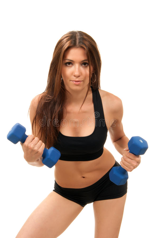 Download Fitness Woman On Diet Workout Dumbbells Stock Photo - Image: 19066658