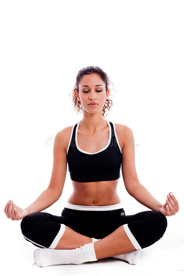 Download Fitness Woman Doing Meditation Stock Image - Image of happy, sign: 11846395