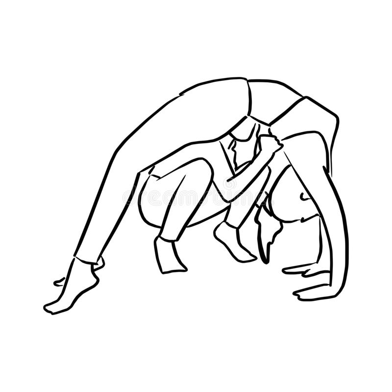 Fitness woman doing yoga with instructor vector illustration sketch doodle hand drawn with black lines isolated on white stock illustration