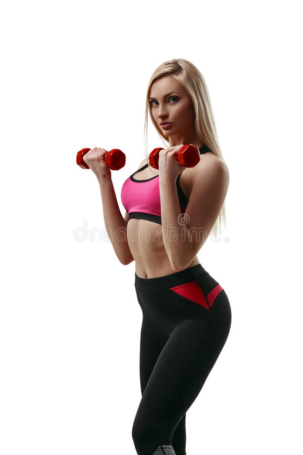 Fitness woman with dumbbells royalty free stock image