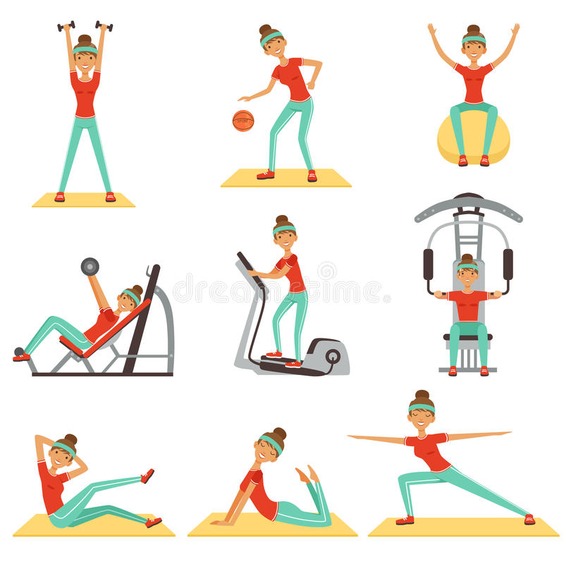 Fitness woman exercising in the gym with sports equipment set of colorful vector Illustrations royalty free illustration