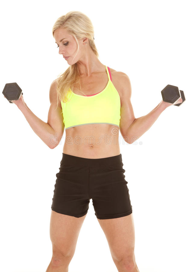 Download Fitness Woman Green Sports Bra Curls Stock Photo - Image of dumbbells, adult: 27330358