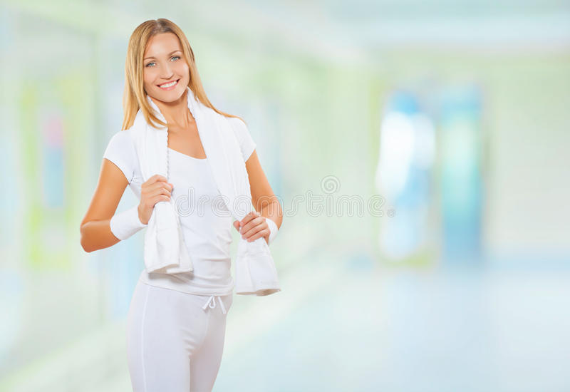 A fitness woman at the gym royalty free stock photos