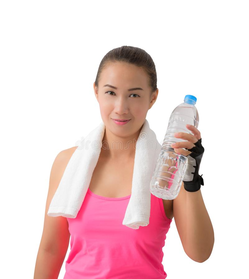 Fitness woman happy smiling holding water bottle royalty free stock photography