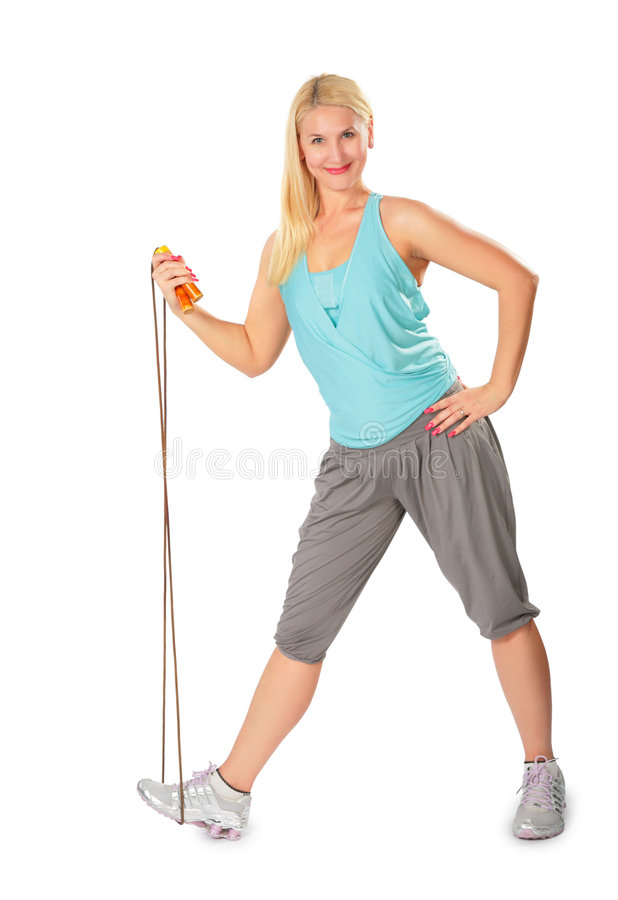Fitness woman with jump rope. On white stock photos