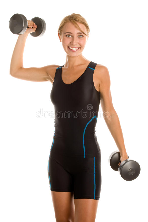 Fitness woman lifting weights. Isolated on white background stock photos