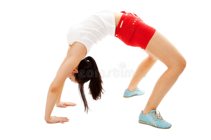 Fitness woman make exercises stock photo
