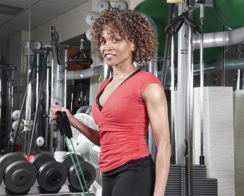 Fitness woman in red top royalty free stock images