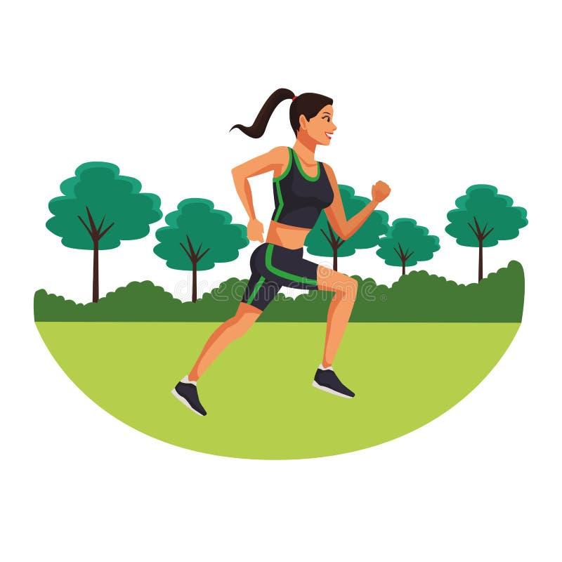 Fitness woman running. Cartoon in the park vector illustration graphic design vector illustration