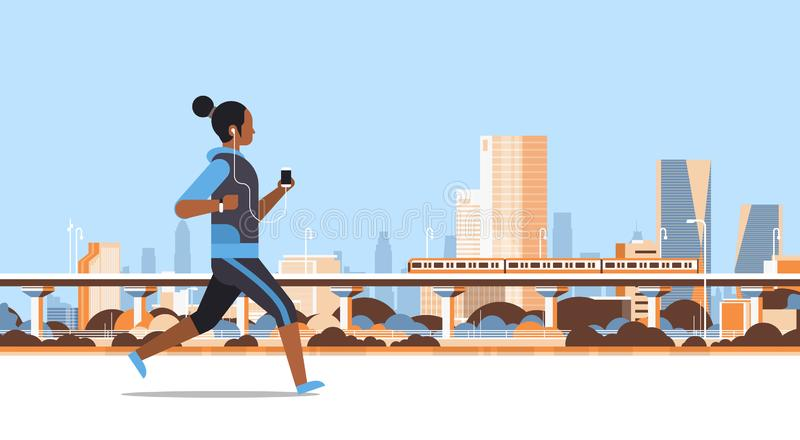 Fitness woman running outdoor african girl listening to music with headphones on smartphone healthy lifestyle concept royalty free illustration